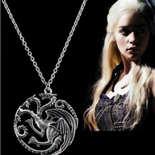 NEW The Song Of Ice And Fire Game Of Thrones Daenerys Targaryen Dragon Badge Necklace Unisex Necklaces