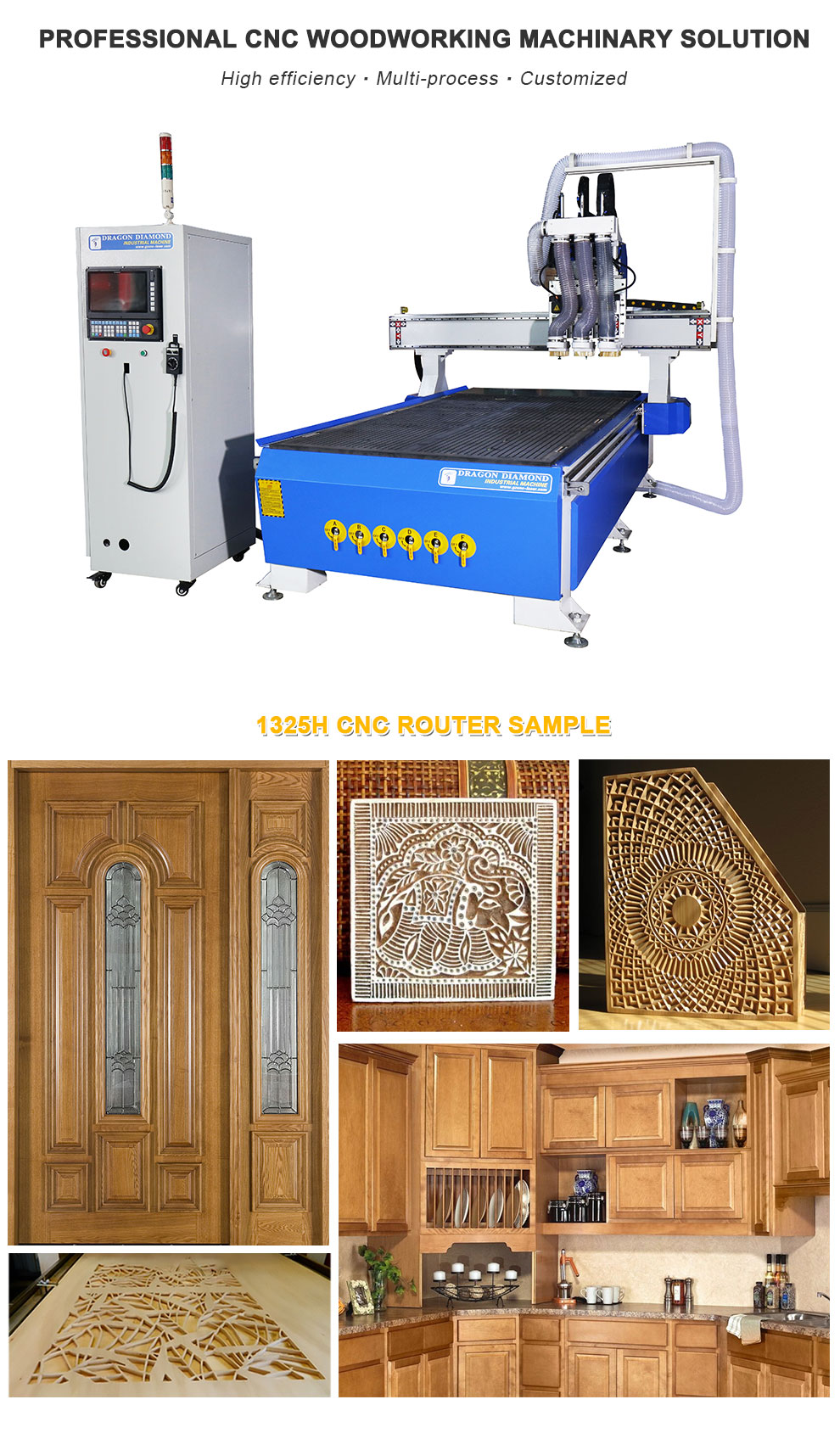 3 Heads CNC Wood Router Machine