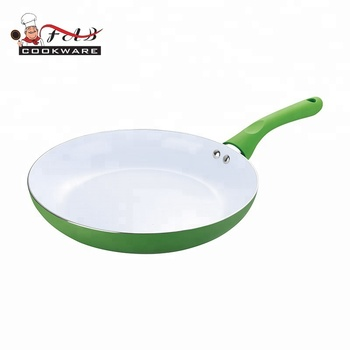 Eco-friendly and colorful aluminum  ceramic non-stick  fry pan with silicone handle