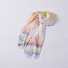 100%Cotton Stripe Scarf with long tassel lightweight hot sales colorful
