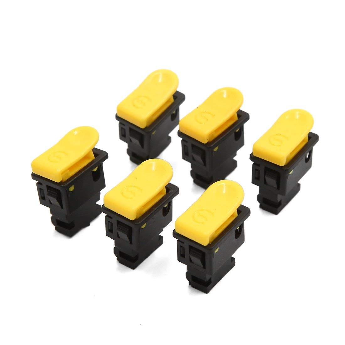 uxcell 6pcs 2 Terminals Motorcycle Electric Power Starting Control Switch Black Yellow