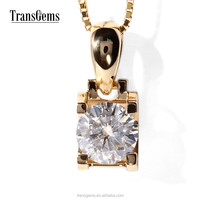 TransGems 1 Carat diamond for Moissanite Solitaire Pendant Necklace 14K Yellow Gold for Women
