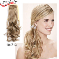 Cheap Ponytail Hairpieces for Ms 55 cm Long And Curl 613# Palm Clip Hair Ponytail