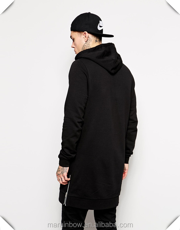 100% Cotton Super Longline Hoodie With Side Zippers Black Plain ...