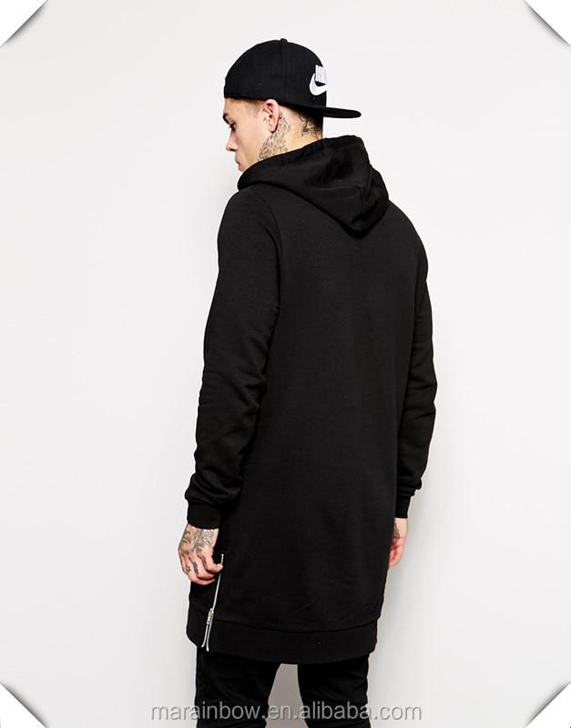 100% Cotton Super Longline Hoodie With Side Zippers Black Plain ...