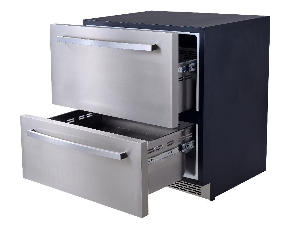 120l Electronic Mini Bar Drawer Fridge Stainless Steel