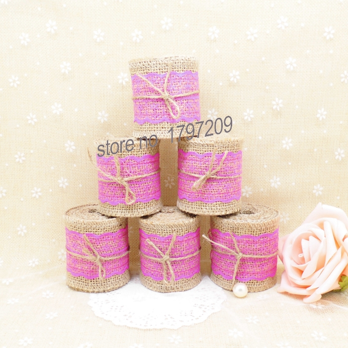 Free shipping 6pcs/lot natural jute burlap Hessian ribbon with rose Lace burlap wedding DIY craft supplies christmas decorations