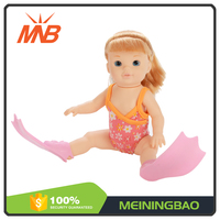 Funny toys B/O swimming waterproof vinyl baby born doll with high quality