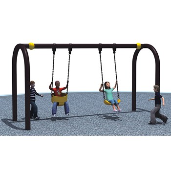 Kids Metal Garden Swing Set With Two Seats For School, Home And Park Use