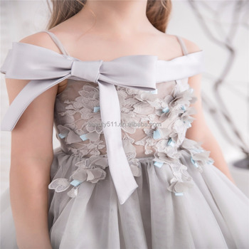 2018 Gray Flower Lace Sexy Tull Net Pricess Flower Girl Dresses Baby