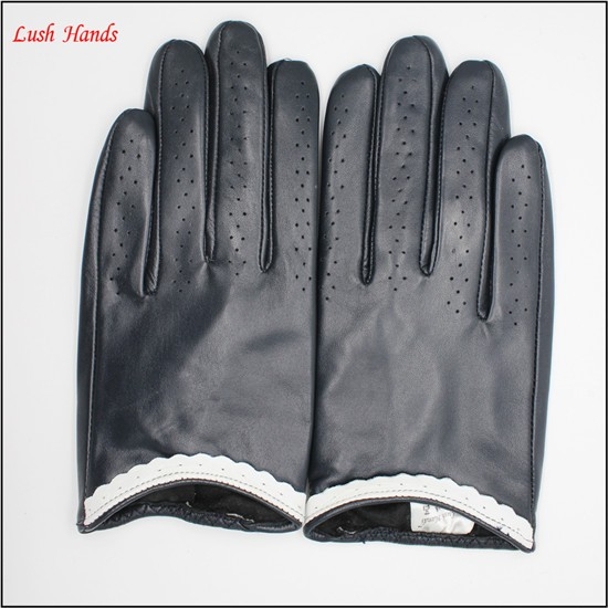Ladies leather driving gloves Open hole on the driving gloves