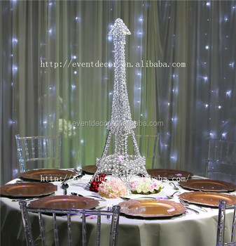 New Product Eiffel Tower Centerpieces Crystal Candle Holder