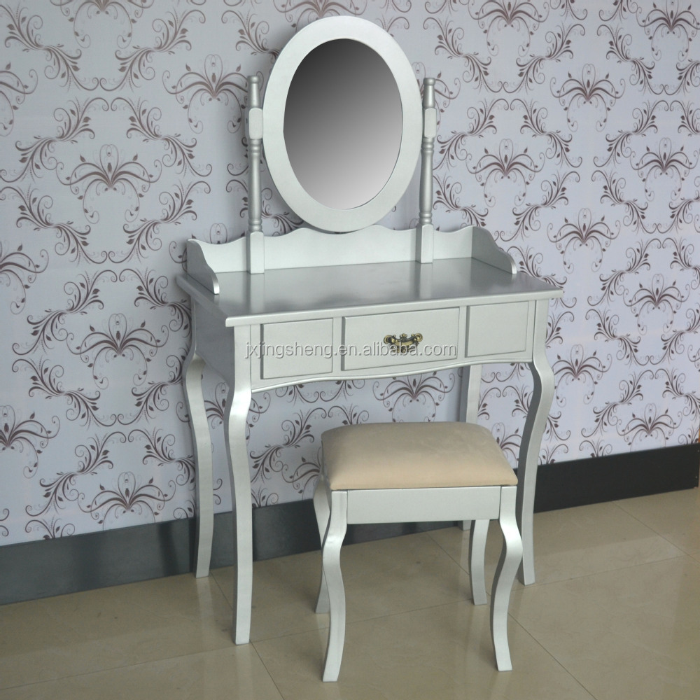Silver Shabby Chic Bedroom Furniture French Shabby Chic Finish Solid Wood Silver Dressing Table With