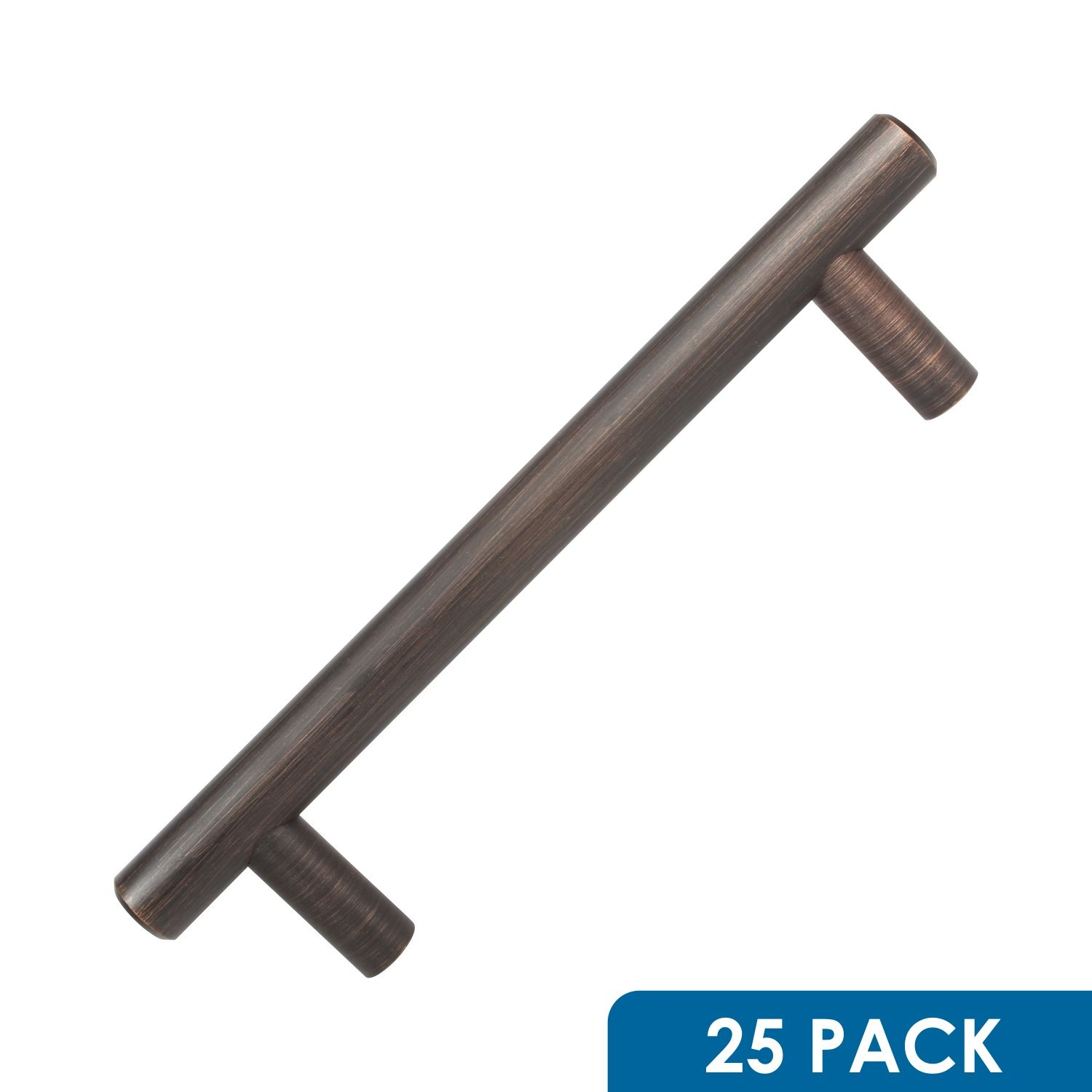 """25 Pack Rok Hardware 4-1/4"""" (108mm) Center Oil-Rubbed Bronze Contemporary Euro Style Solid Metal Kitchen Cabinet Drawer Door Handle Pull 5-13/16"""" (148mm) Length"""