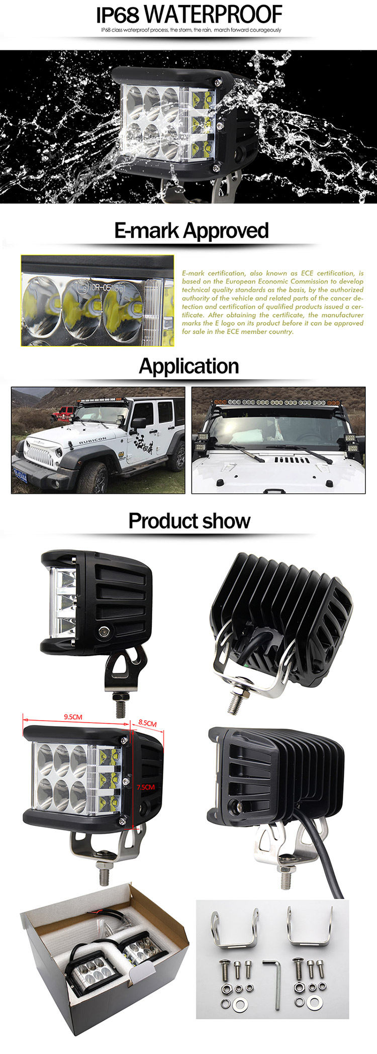 AUTO offroad Amber Red Blue Strobe Flashing spot side shooter 10-30V 4x4 Offroad cube pod led work light 45w