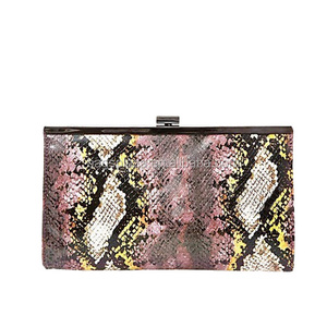 CL12-013 Newest stylish ladies snake clutch with metal frame clasp clutch purse
