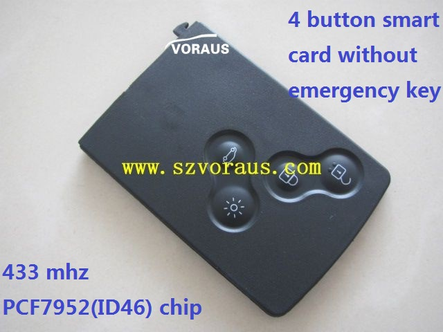 4 button smart card without emergency key 433 mhz PCF7952(ID46) chip no logo but with logo trace