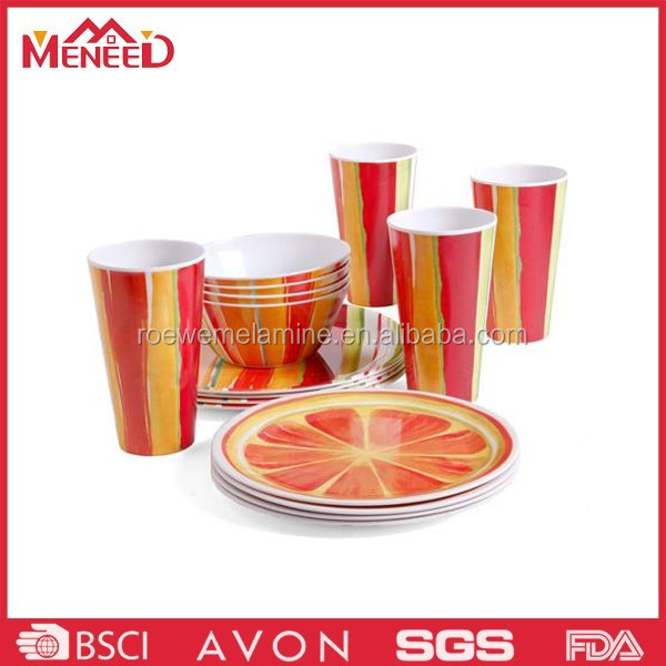 OEM custom colorful printing orange design ceramic-like dinnerware, plastic melamine dinner set