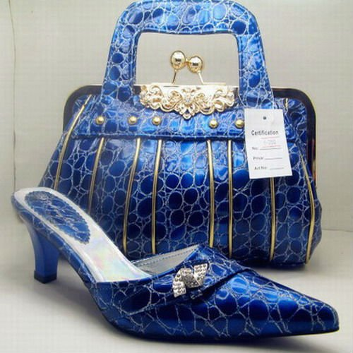Beautiful blue patent low heel shoes and bags