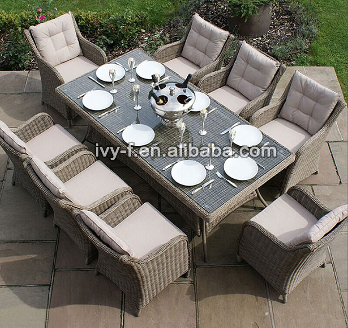 Outdoor 8 seating dining set wicker weaving chairs and for Sofa exterior rattan sintetico