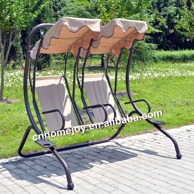 Two Seat Patio Adult Outdoor Swing, Balcony Swing Chair, Canopy Reclining  Swing