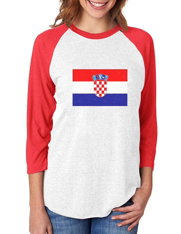 fd4f4f1e7 Get Quotations · Tstars Croatia Flag Vintage Style Retro Croatian 3 4 Women  Sleeve Baseball Jersey Shirt