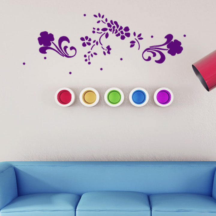 Floral Adornments flower decoration wall art decals home decor living room decorative sticker nursery wall decal