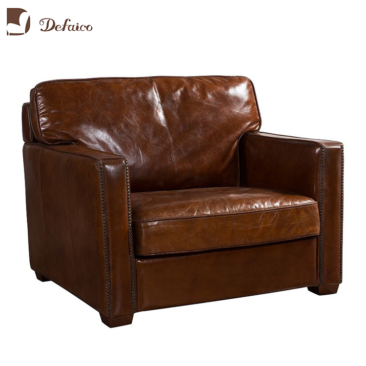 Retro Pure Leather One Seater Single Sofa With Cushion Buy Retro Leather Sofa Leather Sofa Seat Cushion Covers Single Sofa Chair Product On