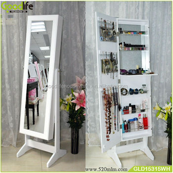 New Product Wooden Makeup Storage Cabinet With Full Length Mirror