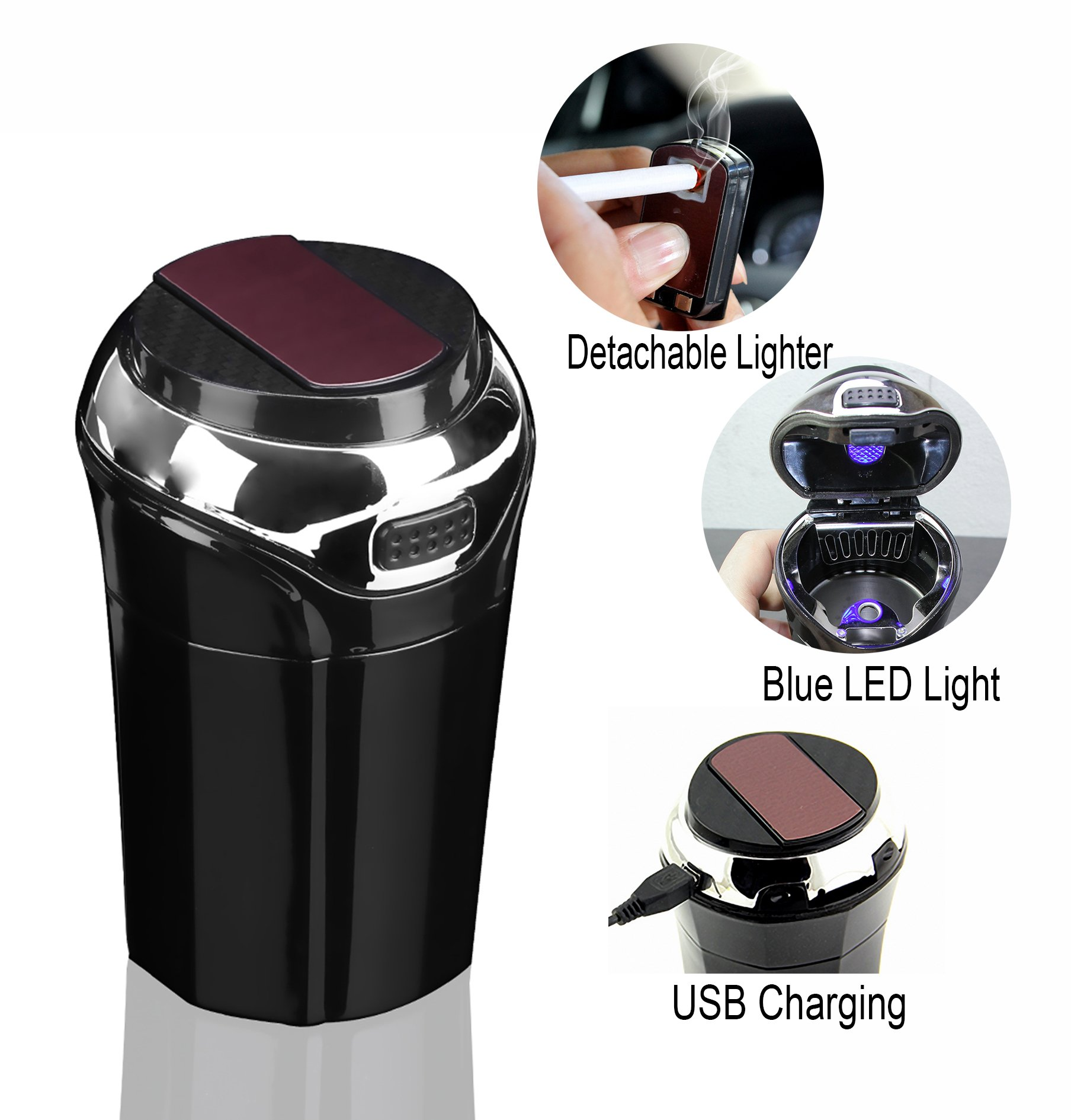 OUYIA Car Ashtray for Most Car Cup Holder, Smokeless Ashtray Cup with Lid Blue LED Light and Detachable Electronic Lighter Suitable for Home&Office (Silver/Black)