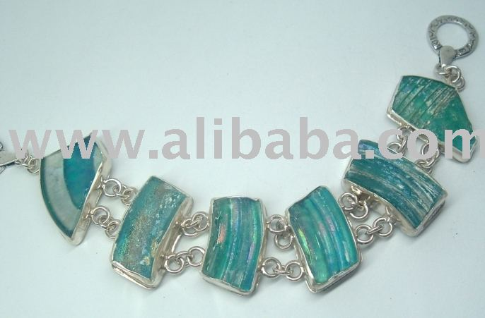 Sterling Silver Bracelet set with Genuine Roman Glass , Israel