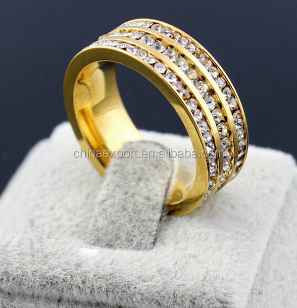 New Arrival Gold Men Rhinestone Stainless Steel Ring Fashion Jewelry