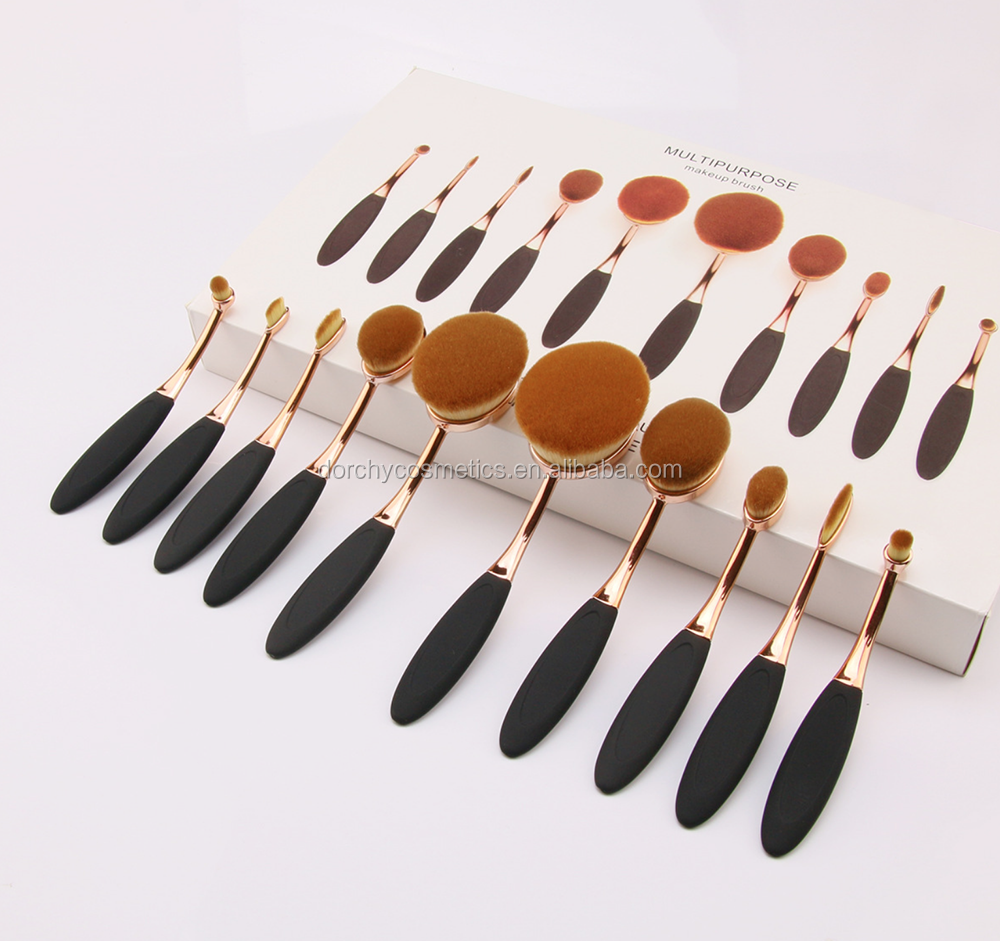 Top sale 10pcs Tooth Shape Brush Rose Gold Oval Foundation Makeup Brushes Set