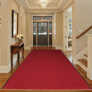 Front door design ribbed red rubber carpet roll runner with pvc backing