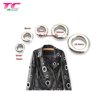 Custom Fashion Silver Color Brass Round Metal Eyelets For Garment Bags