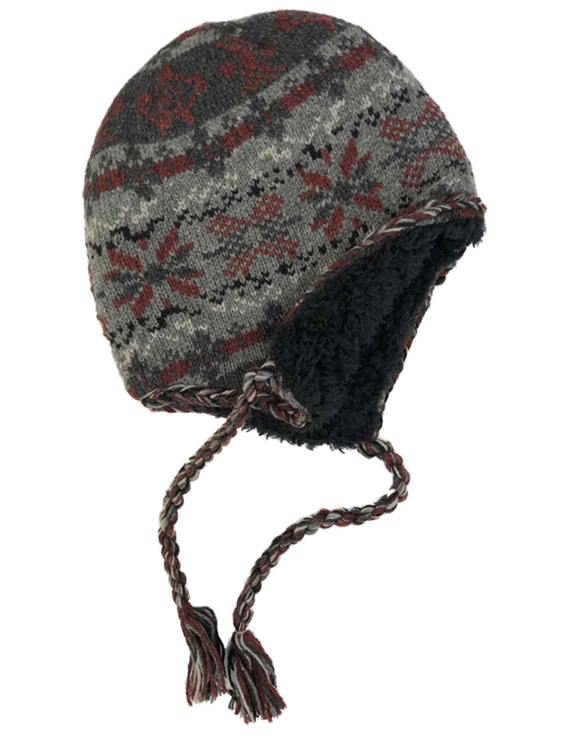 d67b3dac6a9bf Get Quotations · Outdoor Life Mens Gray   Red Snowflake Peruvian Style Wool  Blend Trapper Hat Sherpa Lined