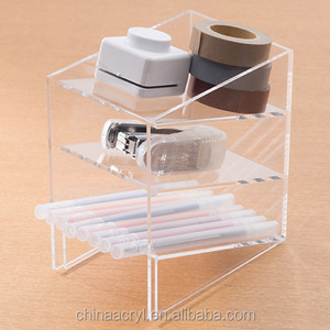 Acrylic office desk case to organaized storage pen eraser glue scissors