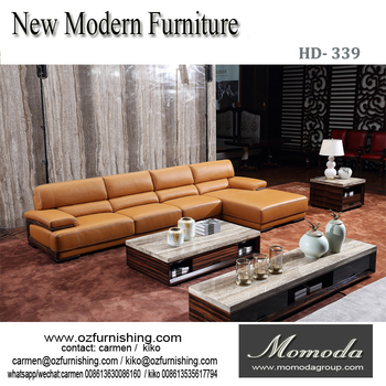 Hd339 European Style Factory Direct Full Grain Genuine Artistic Leather Sofa