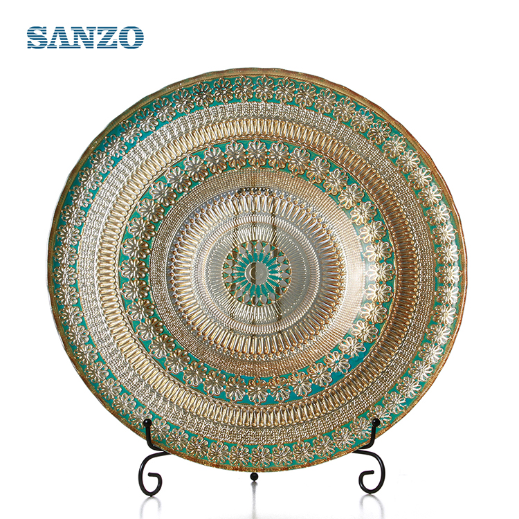 Sanzo Customized Wholesale Glass Fruit Dinner Dish Charger <strong>Plates</strong>