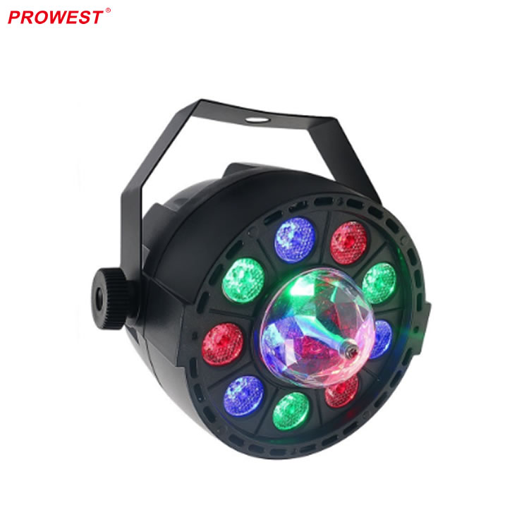 8 channel DMX 9pcs LED Par Can with 3 LEDs Crystal Ball Club lights