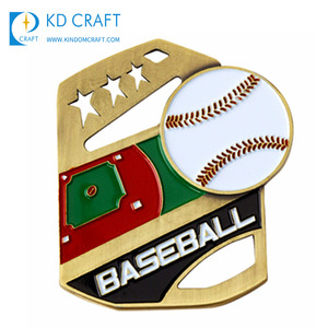 Factory supply custom blank metal sport baseball league champion gold medal for winners
