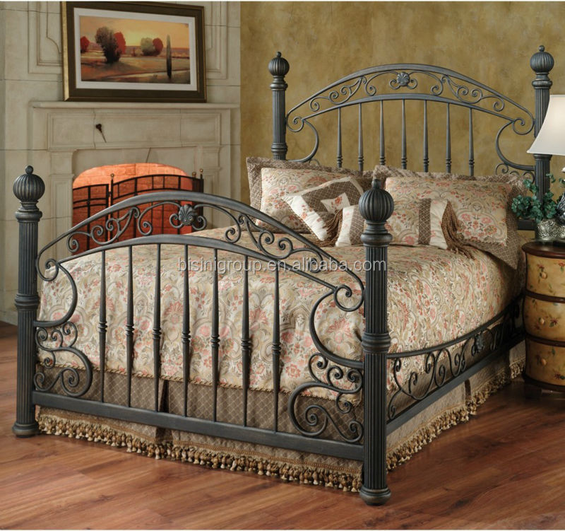 Luxury french style beds round bed metal bed bf10 m727 for Wrought iron bedroom furniture