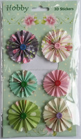 promotion gifts 3D scrapbbok decoration Paper Fan Flowers with button