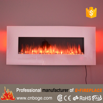50 White Wall Mounted 10 Color Flame Electric Fireplace With 7 Ambient Backlits