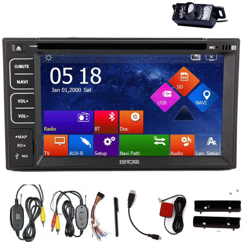 """7""""Double 2 Touch Screen Din Car Radio Stereo LED Night In Dash View Camera GPS Navigation Car DVD Double 2 Din CD Player TouchScreen Car Dvd Player Bluetooth HD Car Radio Audio USB/SD Cable Hig"""