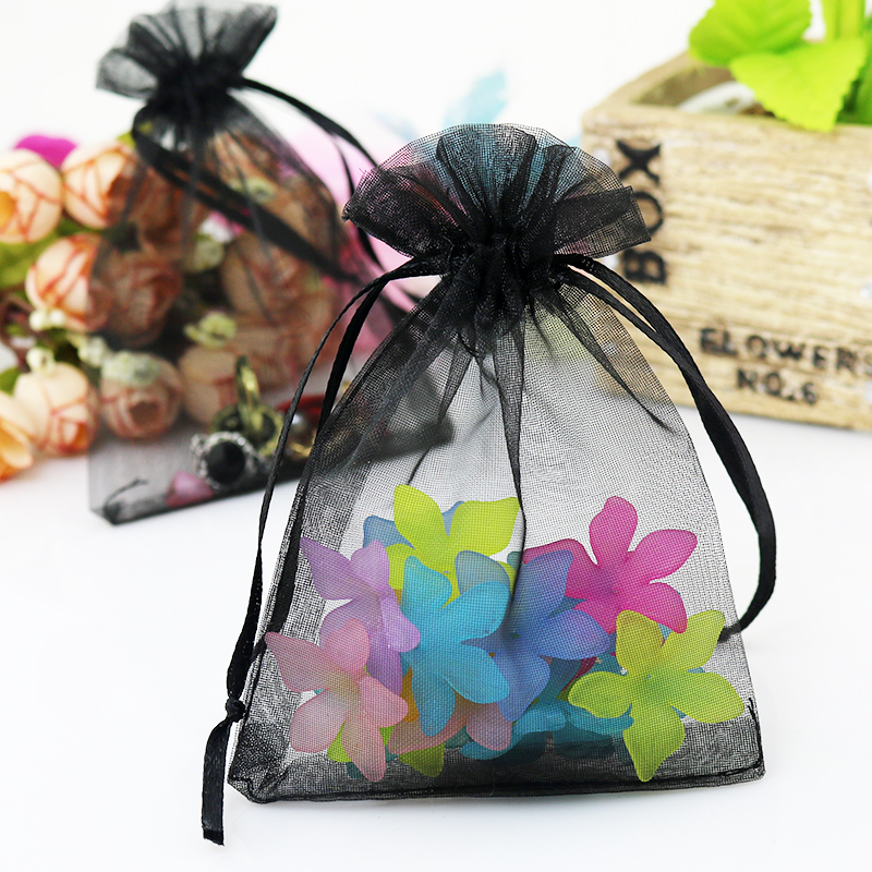 Black Organza Pouch For Jewelry/Cosmetic/Shoes Promotional Packing Bag Gift Drawstring Bag Organza Bag