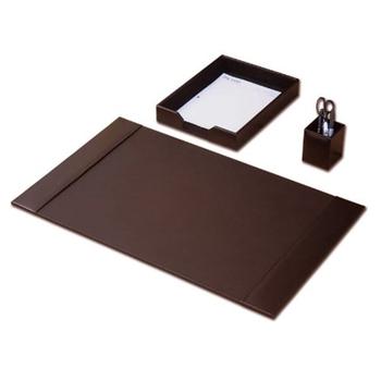Desk Accessory Set , 3 Piece Genuine Brown Leather Desk Pad , Desk Mat For