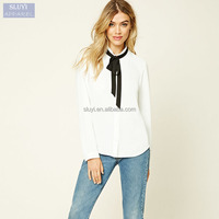 women tops and blouses Fashionable Folded bow tie blouse little high collar ladies chiffon ruffled collar blouse