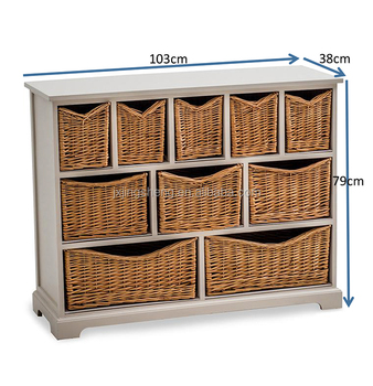 10 Drawer Bathroom Hallway Wicker