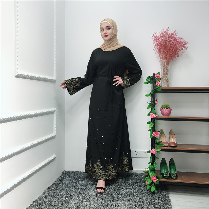 New arrival muslim women islamic clothing dress with belt pearl and lace black abaya